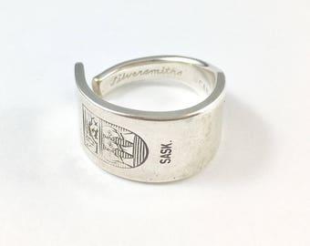 Saskatchewan Ring, Spoon Ring, Spoon Jewelry, Canadian Jewelry, Canada Spoon Ring, Saskatchewan Spoon, Silver Spoon Ring, Saskatchewan gift