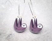 Handmade Illustrated Sloth Dangle Drop Earrings