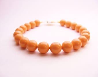 Pearl bracelet Swarovski Coral pearl bracelet 8mm round pearls