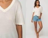 White T Shirt Burnout Tee Shirt Plain Tshirt Vintage Sheer Shirt V Neck Tee 90s Grunge Soft Sheer T Shirt Paper Thin Normcore Large