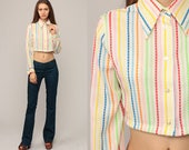 Rainbow Crop Top Striped Shirt Button Up Blouse Long Sleeve 70s Cropped Shirt 1970s Button Up Vintage Small Medium