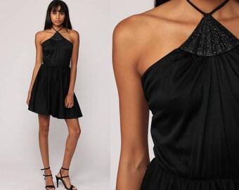 Black Boho Dress Mini Grecian 70s Party Summer Gothic Bohemian Halter Neck METALLIC Vintage Choker 1970s Cocktail Disco LBD Small