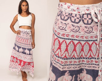 Ethnic Skirt 70s Wrap Skirt INDIAN Maxi Indian ELEPHANT Bohemian Hippie 1970s Boho Vintage High Waisted White Red Blue Small Medium Large xs