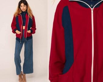 Retro Track Jacket 70s FLEECE Jacket Striped Jacket Zip Up Sweatshirt Red Blue Hipster 80s Sport Vintage Tracksuit Large