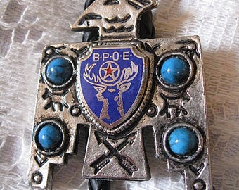 Vintage Elks Bolo Thunderbird BPOE Faux Turquoise Blue Enamel Medallion Black Braid Tie Silver Tone Nubby Tip Ends Please Read Full Details