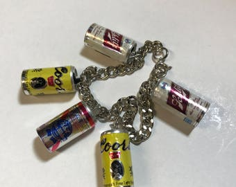 Vintage beer can charm necklace Coors PBR Schlitz