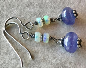 Tanzanite and Opal Earrings, Tanzanite Drop Earrings, Opal Dangle Earrings, Precious Opal Drops, Welo Opal Earrings, Faceted Opal Jewelry