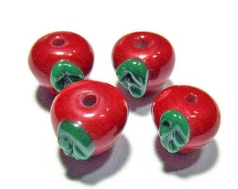 20% OFF LOOSE BEADS - Lampwork Glass Beads - Red Delicious Apples (4 beads) - gla747