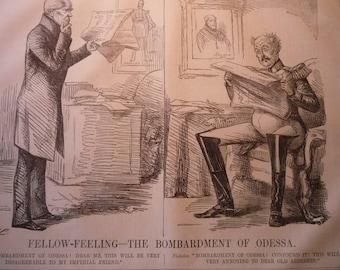 1854 - The Bombardment of Odessa - Victorian Satire - Punch London - original magazine illustration early cartoon
