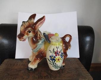 Donkey Burro Ceramic Figurine Set with Oil & Vinegar Cruets