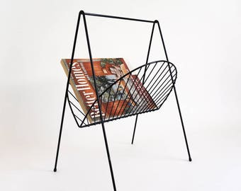 Vintage 1950s 60s Black Enamel Metal Magazine Rack VGC Hair Pin Legs, Retro Mid Century Home Decor