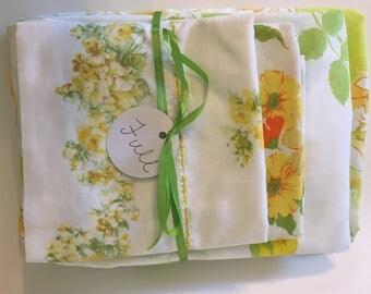 Vintage Remixed Full Sheet set in green/yellow/orange flowers / full flat sheet / full fitted sheet / vintage pillowcase
