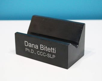Personalized Black Marble Business Card Holder
