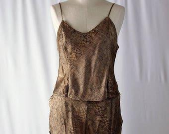 Moving Sale Vintage Victorias Secret Silk Snake-Skin Print Lingerie Pajama Set // Size L