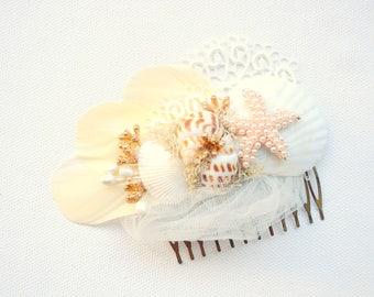 Beach Wedding Bridal Seashells Comb, Nautical Hawaiian Wedding Hair Accessory, White Gold Bridal Seashells Headpiece, Mermaid Comb, Starfish