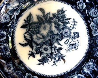 Vintage Flow Blue Plate Flowers Stoneware Transferware Blue and White Navy