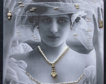 Victorian Bride Canvas Gallery Wrap Mixed Media with Costume Jewelry