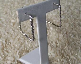Square Sterling Silver Hoop Earrings, Large Earrings, Hoop Earrings