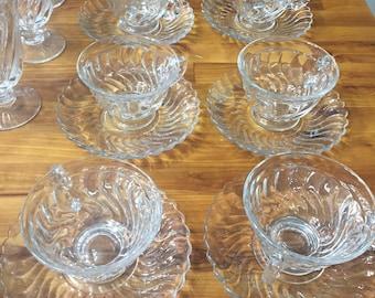 Vintage Glass Dish Set Seirl Pattern