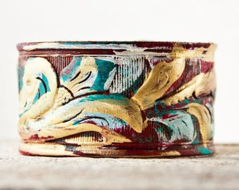 Cuffs Bracelets, Leather Jewelry, Leather Wrist Cuffs, Leather Wrist Accessories, Vintage Tooled Belts