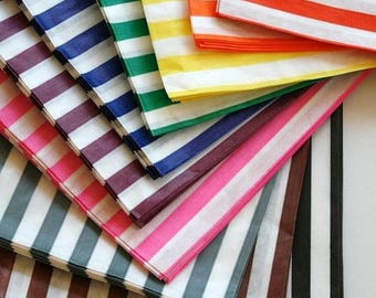 25% Off Summer Sale Free U.S. Shipping - 7 x 9 Size Traditional Sweet Shop Candy Stripe Paper Bags - Weddings Parties Gifting - 7 x 9 Choose