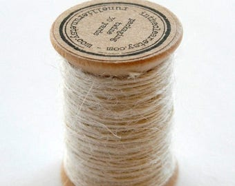 25% Off Summer Sale Burlap Twine - 30 Yards on Wooden Spool - Cream Color Jute