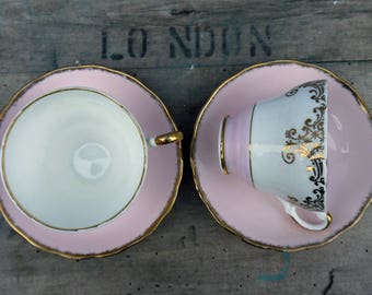 Tea for Two - Vintage pink gold and white teacups