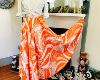 Vintage 60s skirt, 60s Circle Skirt, 1960s Maxi Skirt, long 60s skirt, Orange and White, 60s Mod skirt,60s hippie skirt, Psychedelic pattern