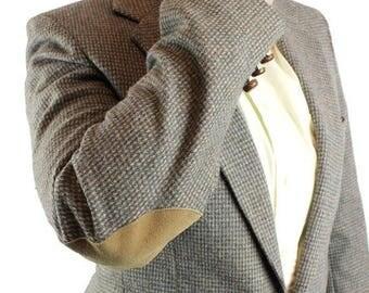 ON SALE Vintage Elbow Patch Blazer 38L Slim Levis Trimcut Gray Wool Tweed Jacket 36L Free Us Shipping
