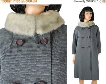 ON SALE Vintage Winter Coat Sz M 50s Mink Fur Collar Gray Wool Long Princess Jacket Free Us Shipping