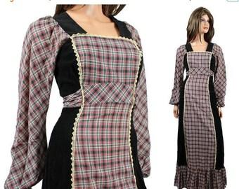 ON SALE SALE! 70s Prairie Girl Dress Xs Vintage Black Corduroy Gray Red Plaid Cotton Long Maxi Free Us Shipping