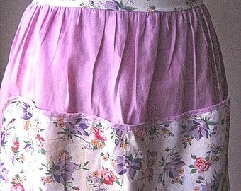 APRON Kitchen Skirt Bottom Cover PINAFORE Vintage Lavender Cotton Chintz Flowers