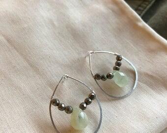 Hoop post 'glass half full' earrings, sterling silver,  rutilated quarts drops, pyrite nuggets