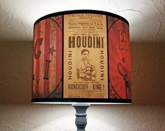 Circus Freaks lamp shade Lampshade - circus light, Harry Houdini, magician,Halloween, yellow lampshade, bohemian decor, freakshow, magic