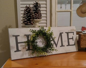 Farmhouse Style ~ Home With Wreath Sign ~ Home Sign ~ Coastal Farmhouse ~ Farmhouse Sign ~ Shiplap ~ Cottage Sign