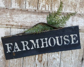 Handmade Old BARNWOOD FARMHOUSE SIGN black and white