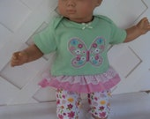 Doll Clothes,  Bitty Baby Girl   4 pc cute Butterfly   Pants dress  with headband and Leggings, socks