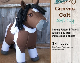 Horse Doll Plush Horse Toy Sewing Pattern and Tutorial Realistic Look Horse Softie DIY Canvas Colt Horse