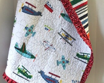 Baby Boy Crib Quilt Vintage Airplanes Planes Baby Shower Gift Nursery Decor