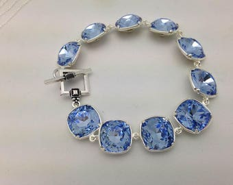 Swarovski Jewelry in Sapphire Cushion Beads w/ Silver Plated Bezel Setting. Bracelet only listing. One of a Kind Handmade Jewelry. Stunning.