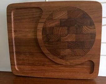 Vintage Danish Teak Wood Cheese Snack Cutting Board Tray Kalmar Dansk Digsmed Mid Century