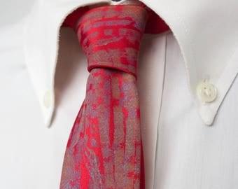 "Skinny Red Tie - ""Crimson branches"" - Monoprint Tie"