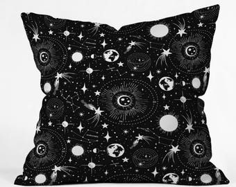 Outer Space Throw Pillow // Black & White // Celestial // Cushion // Solar System Design // Stars // Constellations // Retro Style // Decor