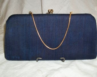 Vintage 1940s 1950s Navy Silk Fabric Purse Dolbie Jerome Mandel's of California NWT