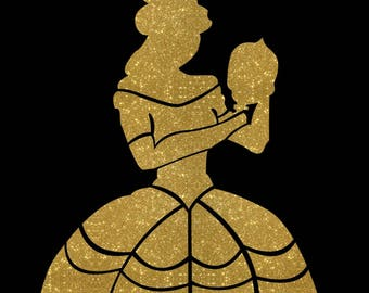 Belle silhouette iron on glitter Disney transfer Beauty and the Beast