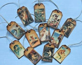 RESERVED LISTING for Judy- 2 sets of small Mermaid TAGS- 24 of all the same image- Mermaid with shell