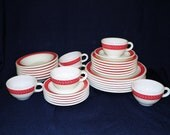 RESERVED for Hailey Pyrex Corning Red Laurel Autumn Bands, 30 Piece Set, 6 of Each Dinner Lunch Salad Bowls Cups Saucers FANTASTIC CONDITION