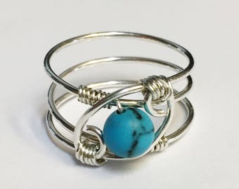 December Birthstone  Turquoise Gemstone Ring  Turquoise Jewelry  Sterling Silver Rings for Women