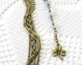 Antique Bronze Celtic Dragon Bookmark Celtic Knot Bronze SHAMROCK  Blue Bead BOOK MARK