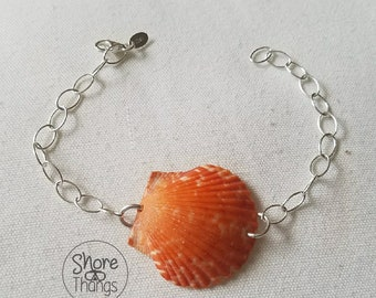 Bright Orange Scallop Seashell Sterling Silver Bracelet